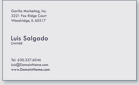 Gregg mrowka chicago area creative professional gorilla marketing business cards back click here to enlarge reheart Image collections